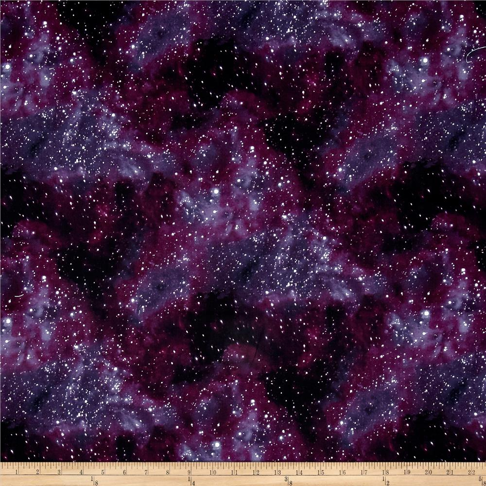 Cosmic space starry sky black discount designer fabric for Cosmic print fabric