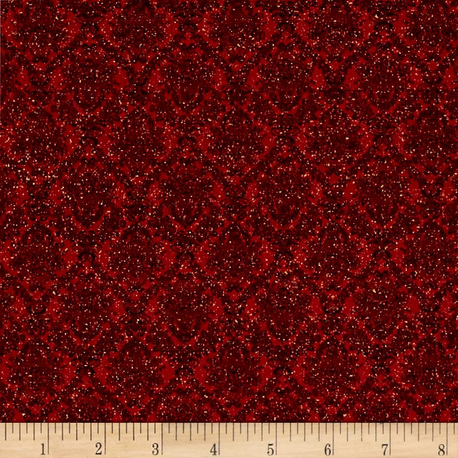 Peace on Earth Twill Damask Red