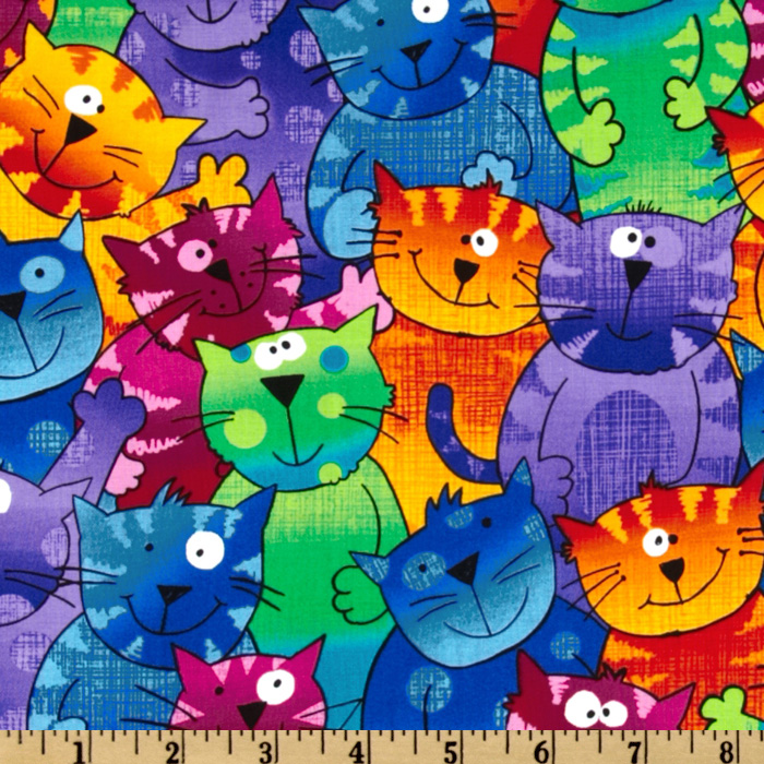 Timeless Treasures Cats & Dogs Happy Cats Multi Fabric