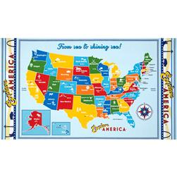 Robert Kaufman Explore America 36 In. Map Panel Bright