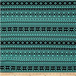 Cotton Lycra Jersey Knit Geometric Mint/Black