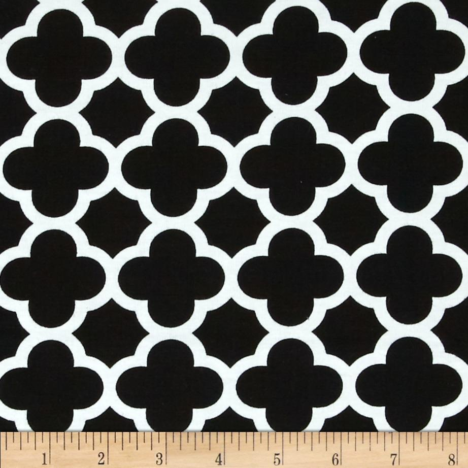 Riley Blake Stretch Cotton Jersey Knit Quatrefoil Black