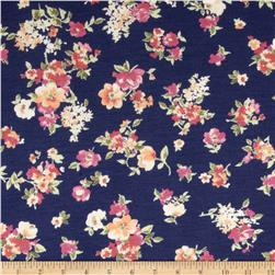 Rayon Spandex Jersey Knit Small Flowers Navy/Yellow/Pink Fabric