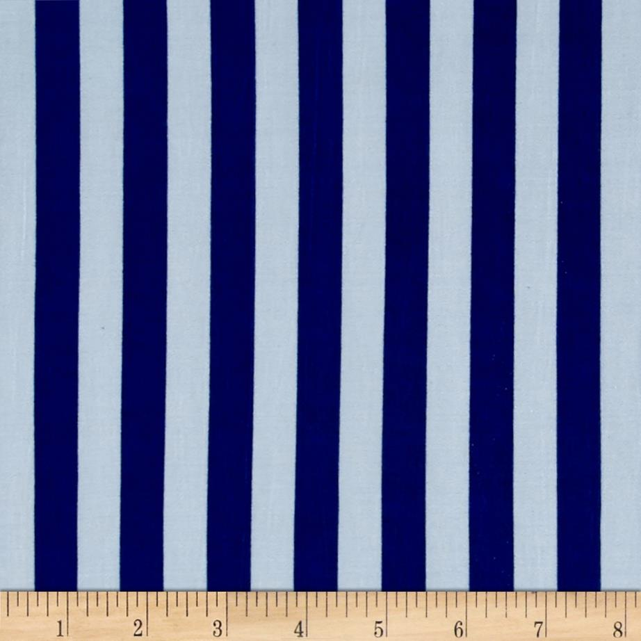Stretch ITY Jersey Knit Classic Stripe Royal and White