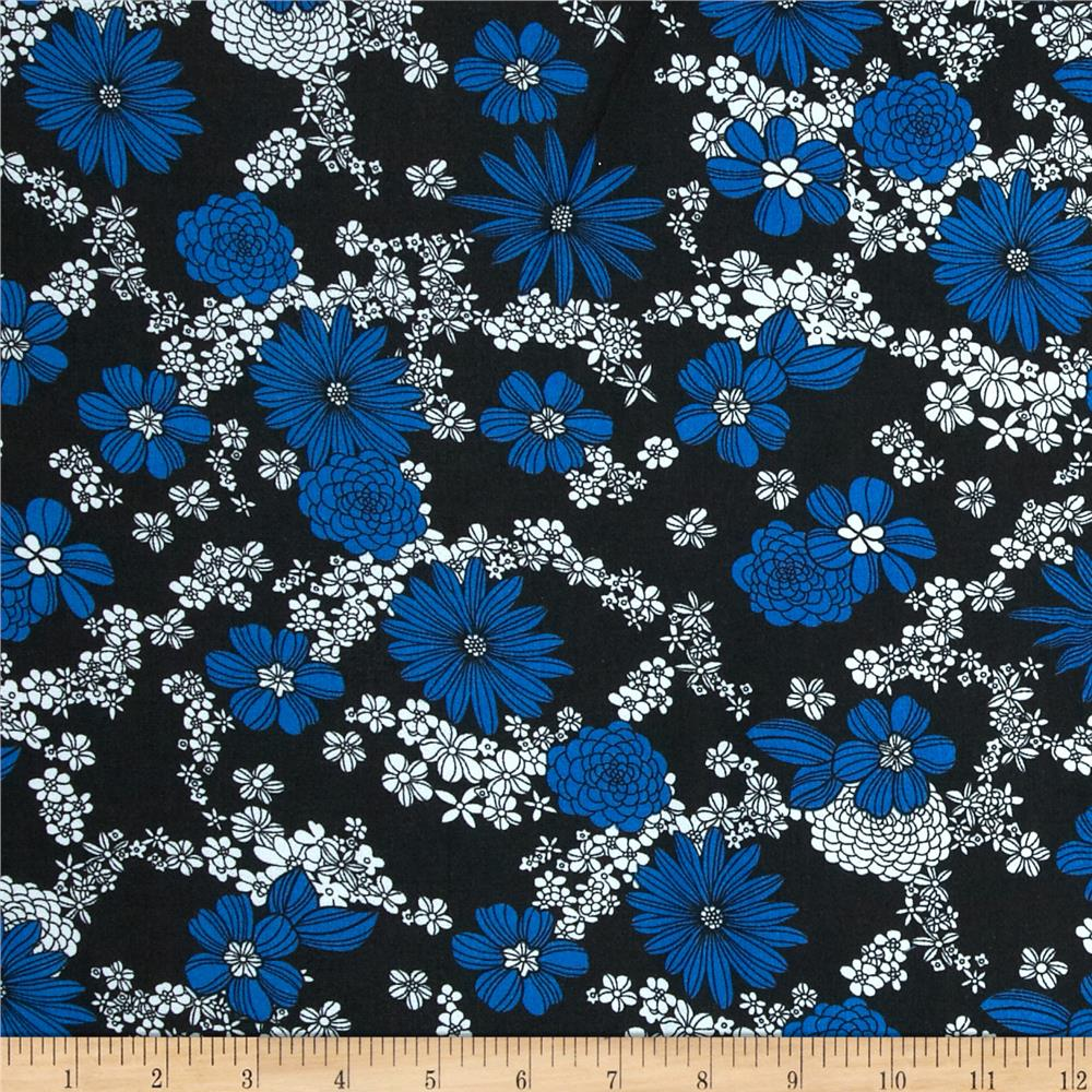 Poly Challis Floral Royal/White/Black