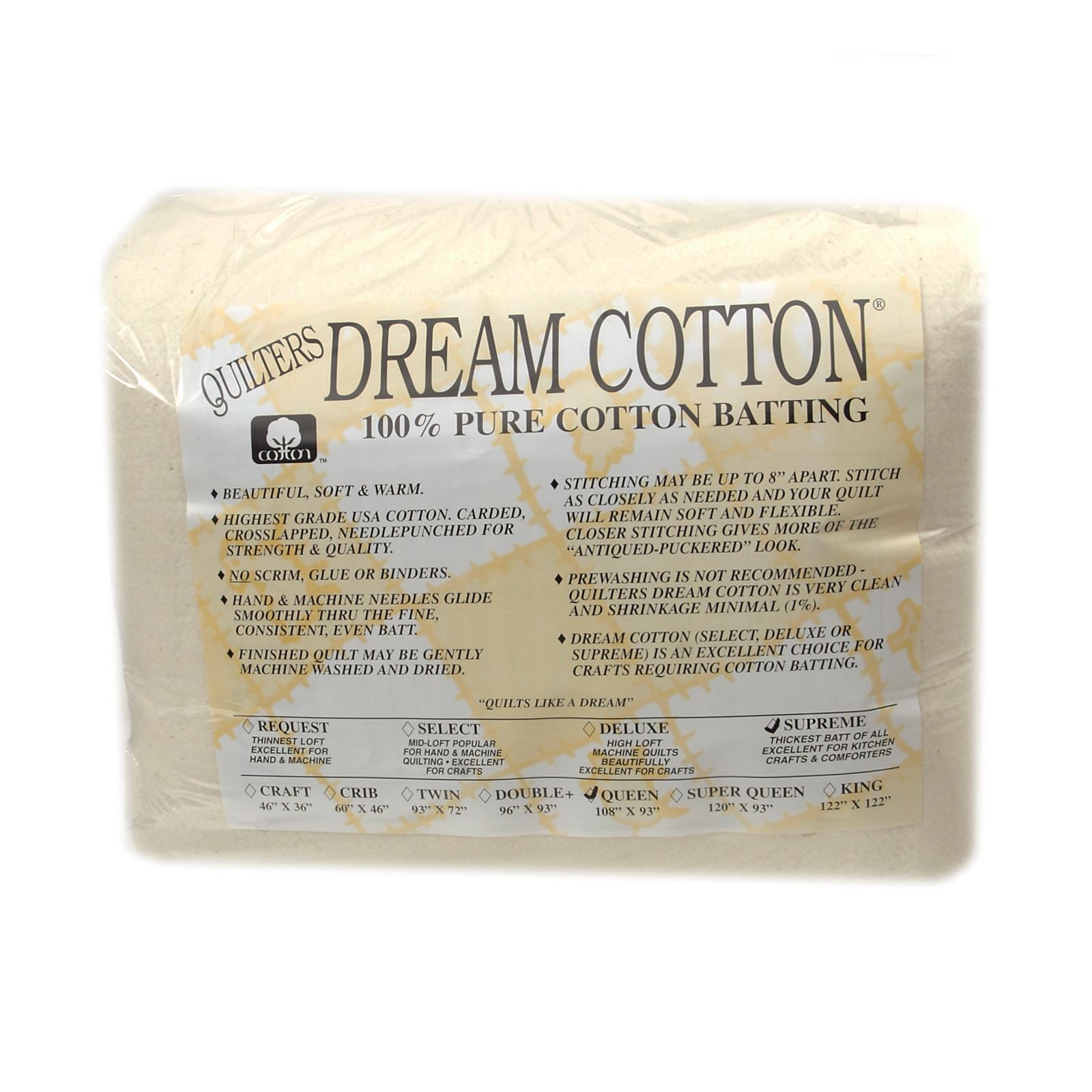 Quilter's Dream Natural Cotton Supreme Batting (108'' x 93'') Queen by Quilter's Dream in USA