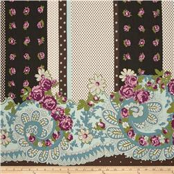 Cotton Lawn Floral Border Stripe Brown/Pink