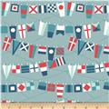 Riley Blake Fly Aweigh Flags Grey