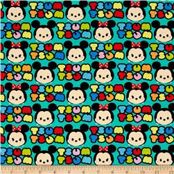 Disney Tsum Tsum Mickey And Minnie Stripe  Jersey Knit Teal