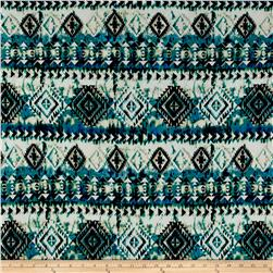 ITY Brushed Jersey Knit Aztec Black/ Blue/Jade