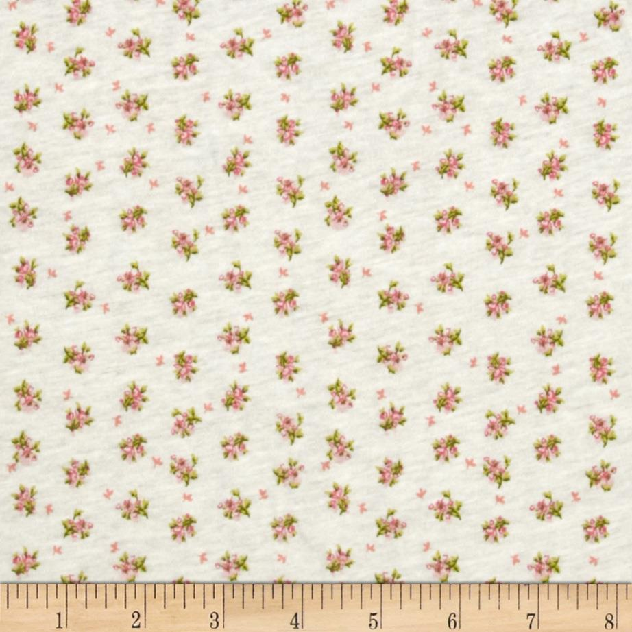 Stretch Rayon Blend Jersey Knit Dainty Blooms Pink/Cream