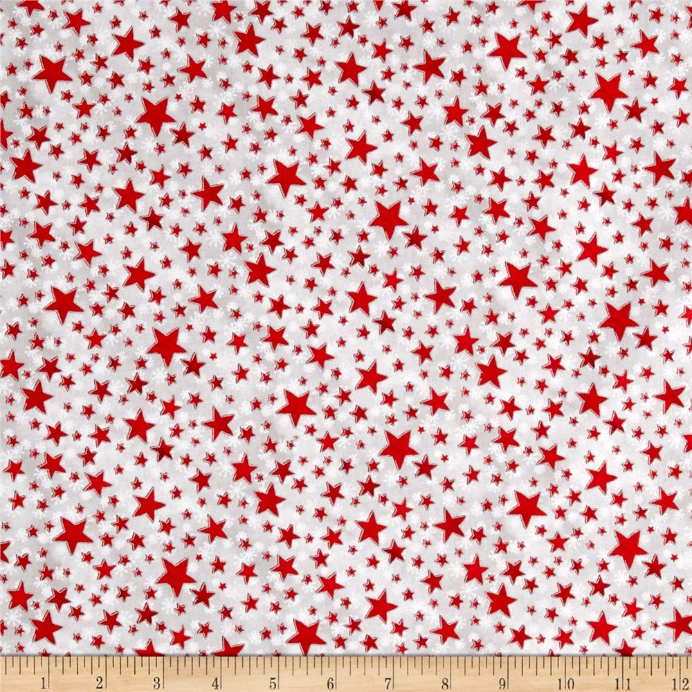 Seasons Greetings Stars Red