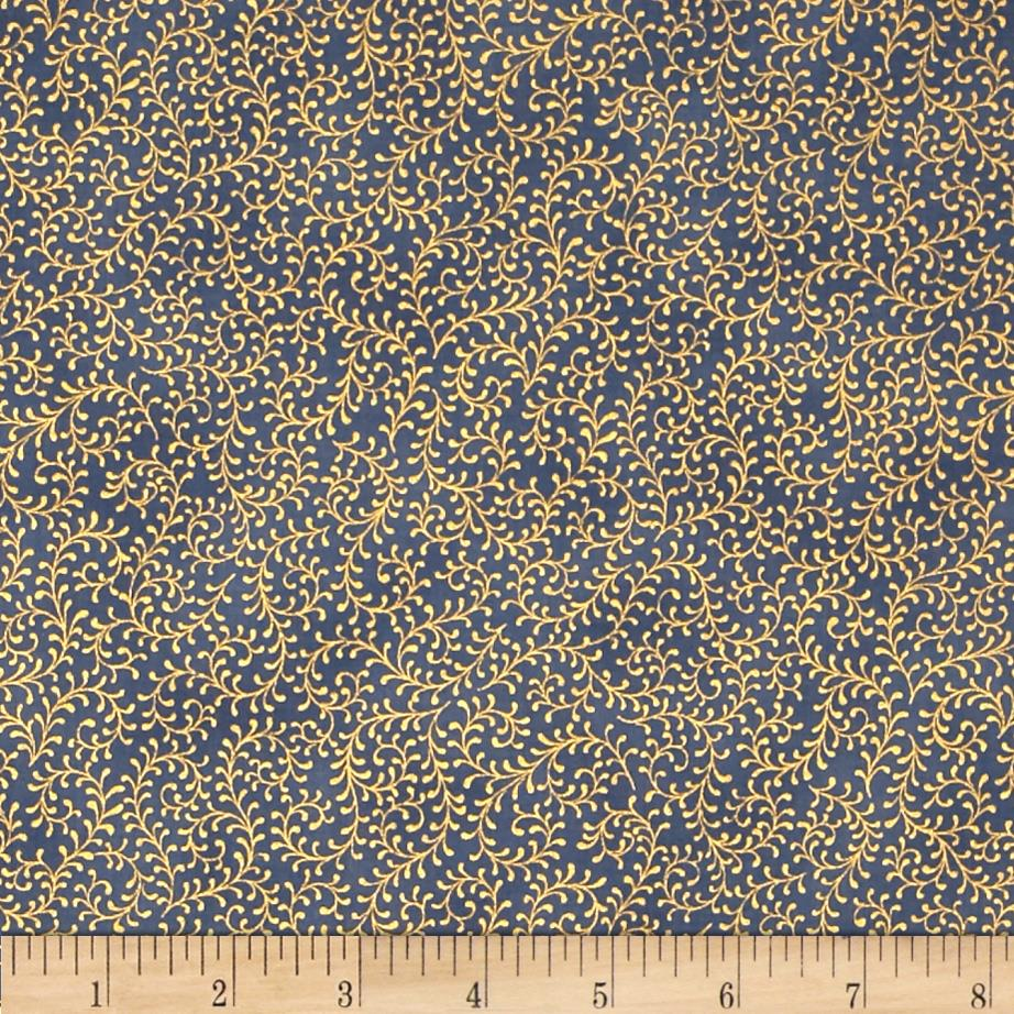 Royal Peacock Metallic Filigree Vine Dusty Blue/Gold