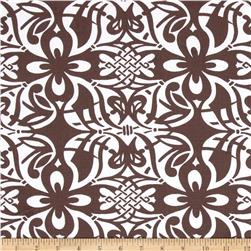 Stretch Poplin Floral Brown/White