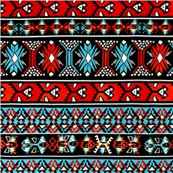 Aztec Hatchi Sweater Knit Tourquoise/Red
