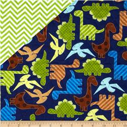 Urban Zoologie Double Faced Quilted Dinosaurs/Argyle Multi