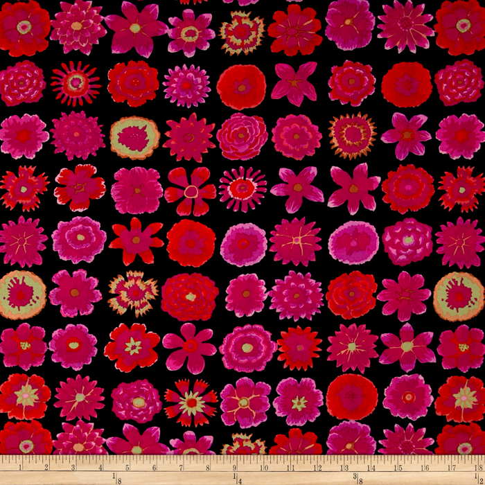 Kaffe Fassett Collective Button Flowers Black Fabric By The Yard
