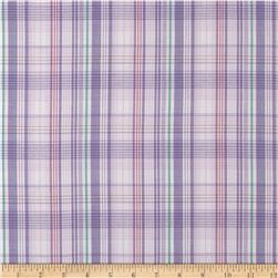 Stretch Yarn Dyed Shirting Plaid Lilac/Green/White