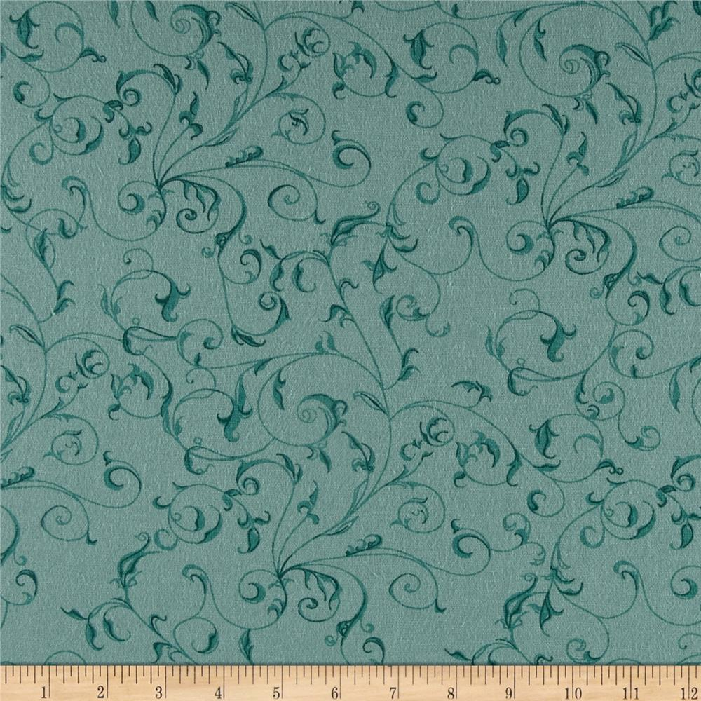 "110"" Wide Flannel Quilt Backing Filigree Aqua"
