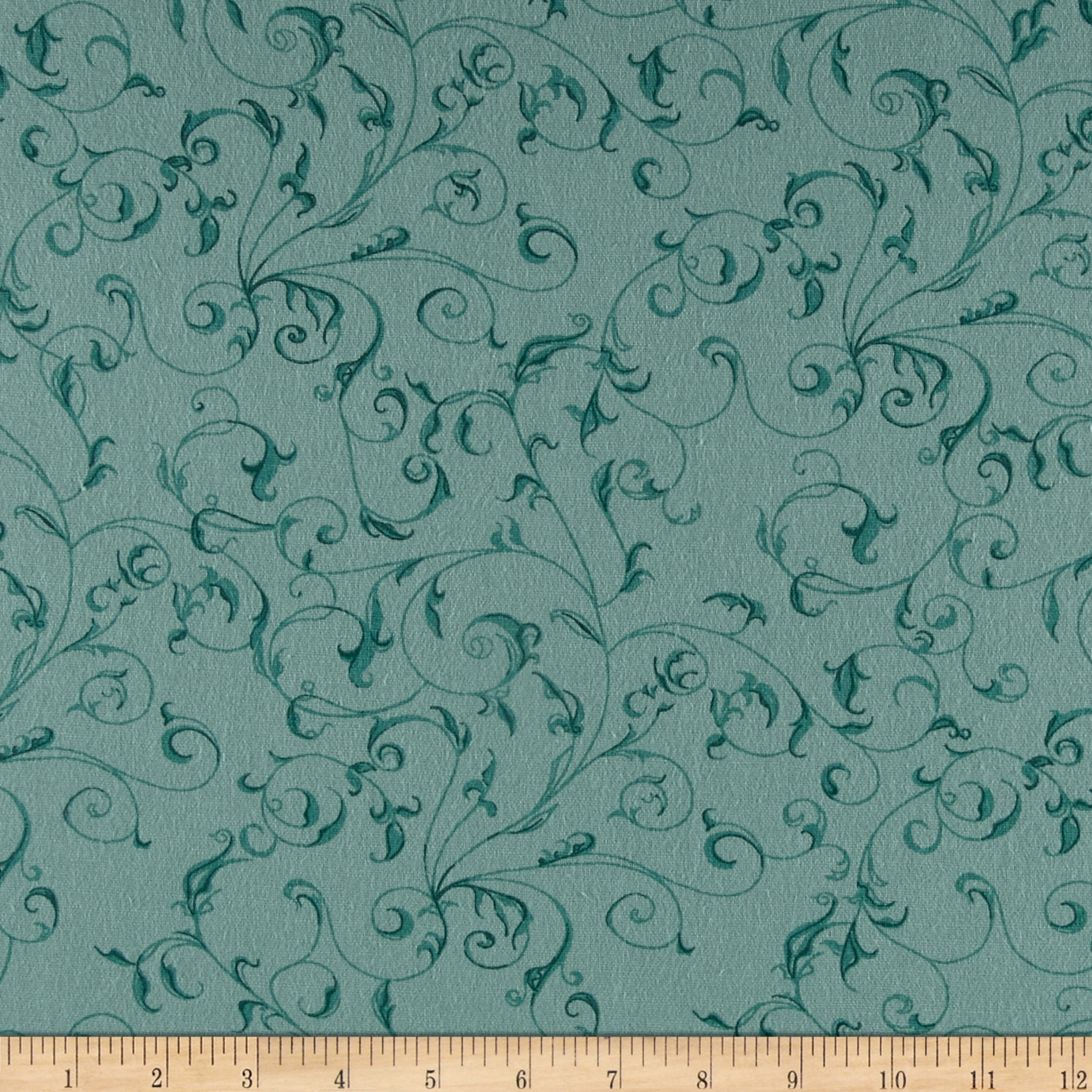110'' Wide Flannel Quilt Backing Filigree Aqua Fabric