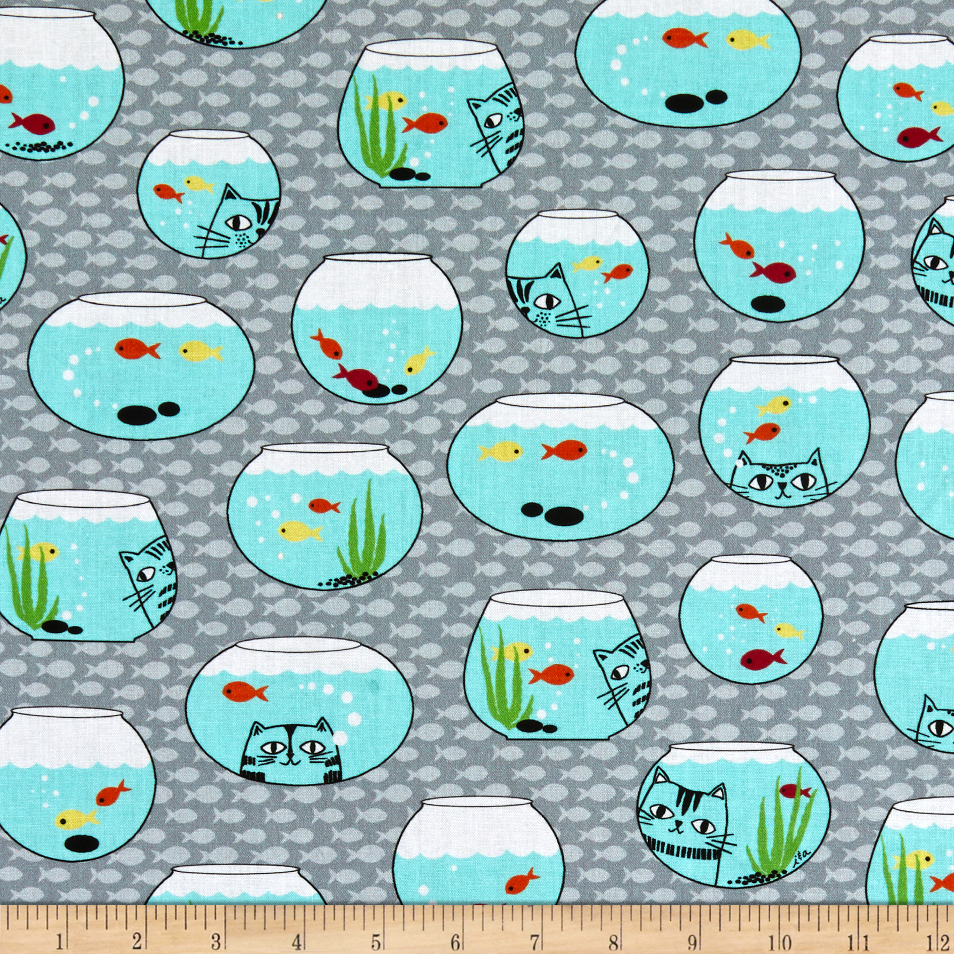 INOpets.com Anything for Pets Parents & Their Pets Ink & Arrow Cat Fish Fish Bowls Gray Fabric