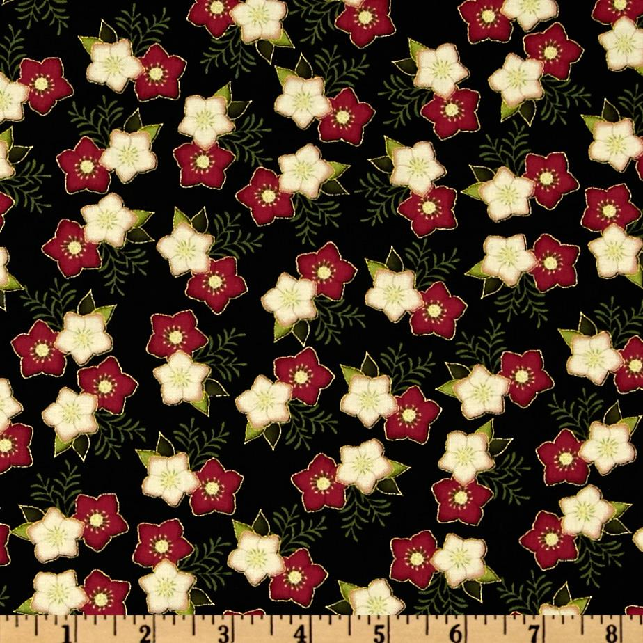 Home For The Holidays Metallic Little Flower Black