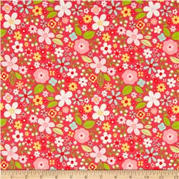 Riley Blake Garden Girl Floral Raspberry