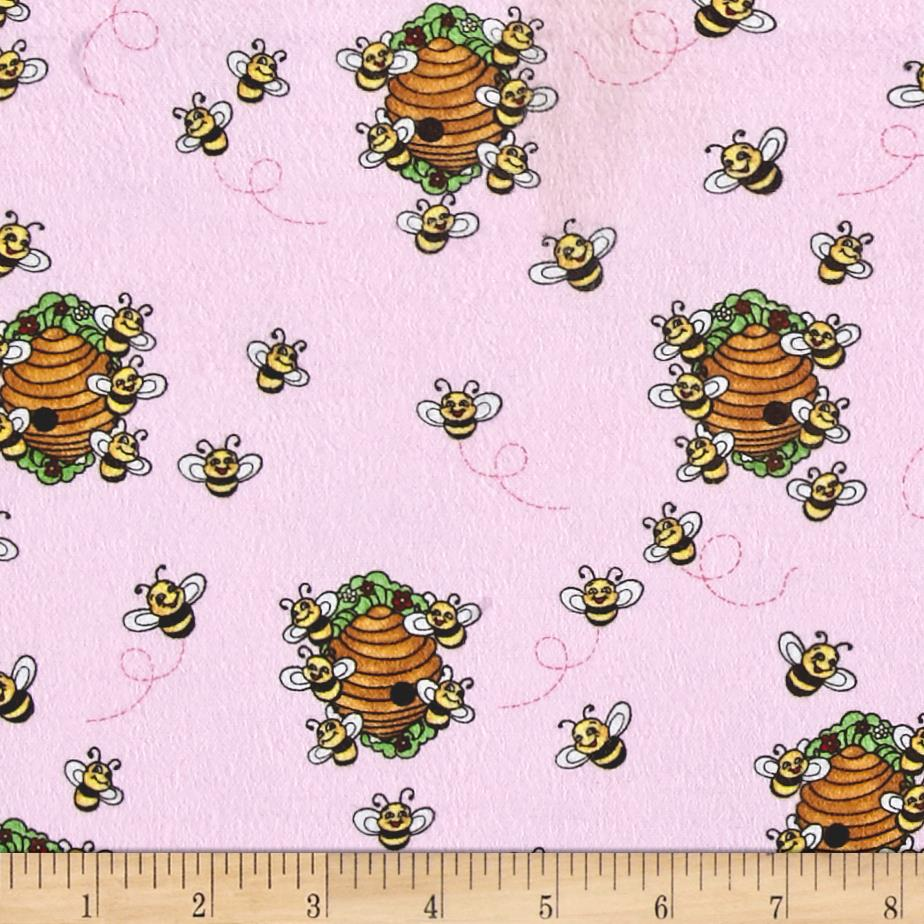 Comfy Flannel Beehives Pink Fabric