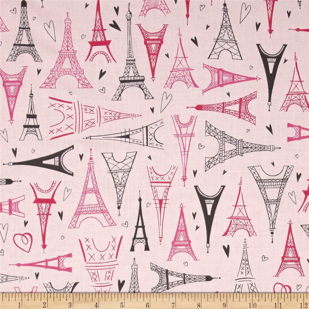 Kaufman Paris Adventure Eiffel Towers Pink