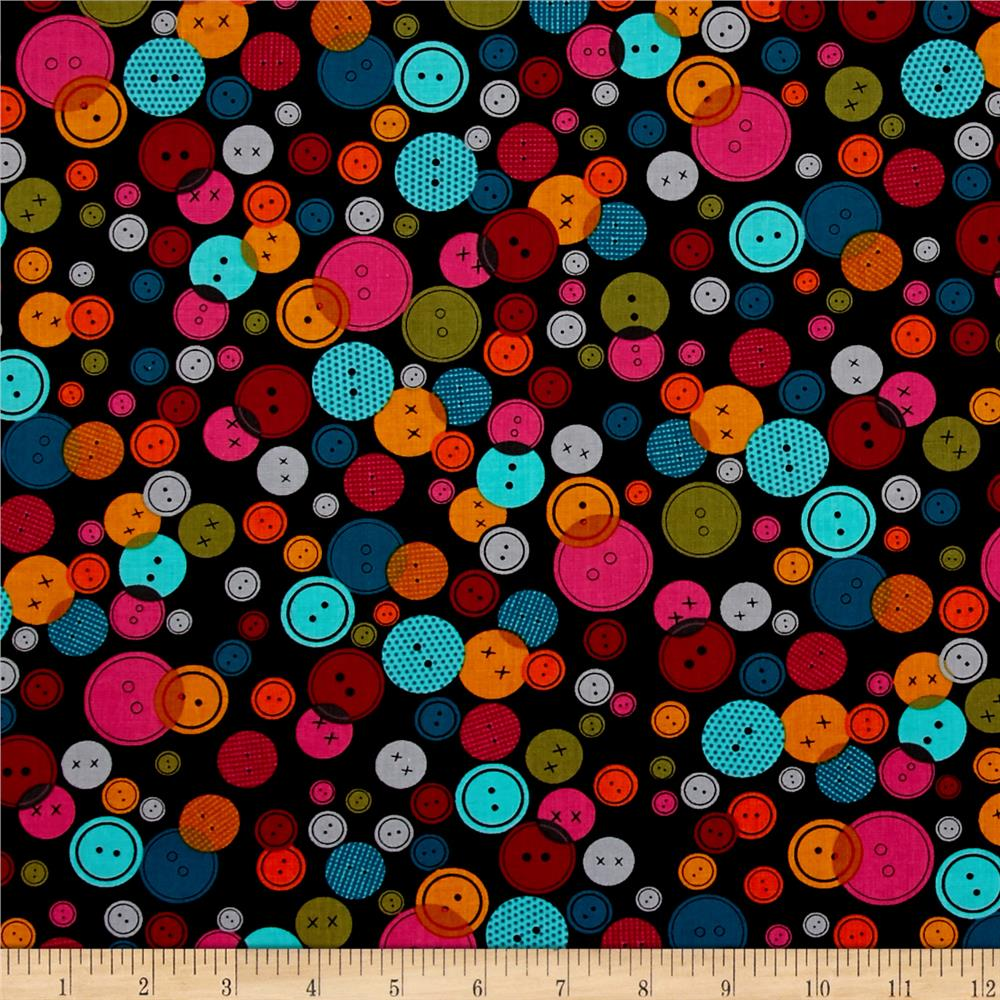 Kanvas Sew Sew Lots of Buttons Black/Multi