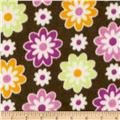 Fleece Flowers Brown Multi