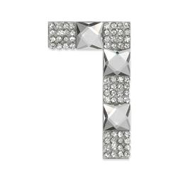 "Rhinestone Applique Number 7 2 1/4 x 1 3/4"" Crystal"