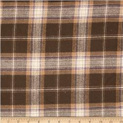 Primo Plaids V Flannel Box Plaid Brown Fabric