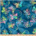 Embroidered Indian Batiks Butterfly Teal