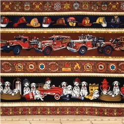 All Fired Up Tossed Firemen & Dalmantian Border Stripe Cream