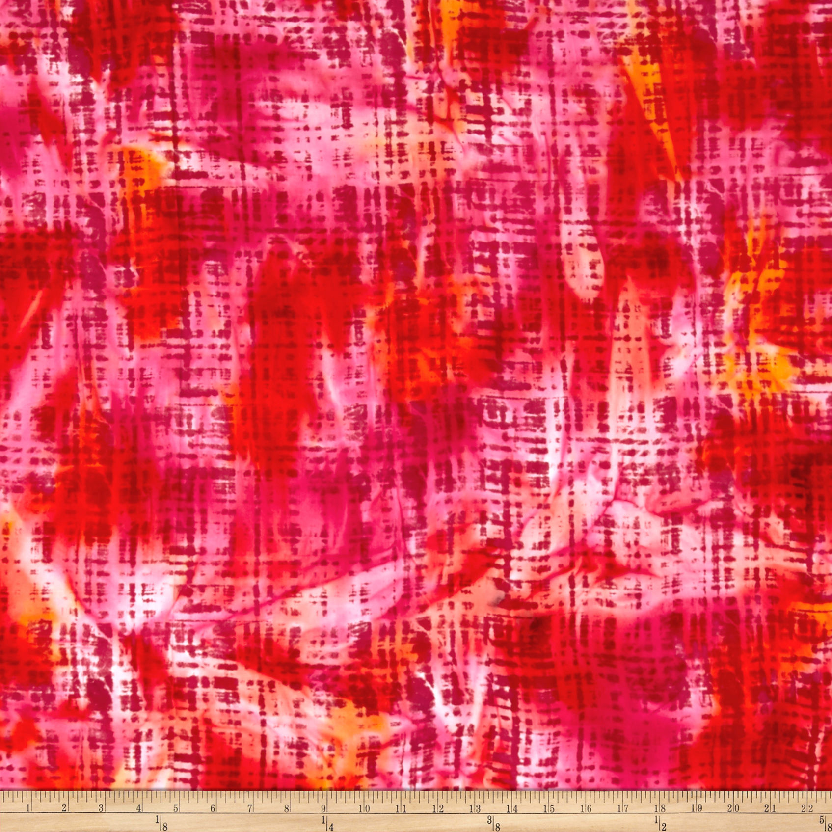 Hudson Bay Rayon Challis Abstract Plaid Red/Orange/Yellow Fabric by Textile Creations in USA