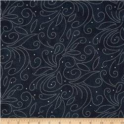 110'' Wide Quilt Backing Scroll Navy Fabric