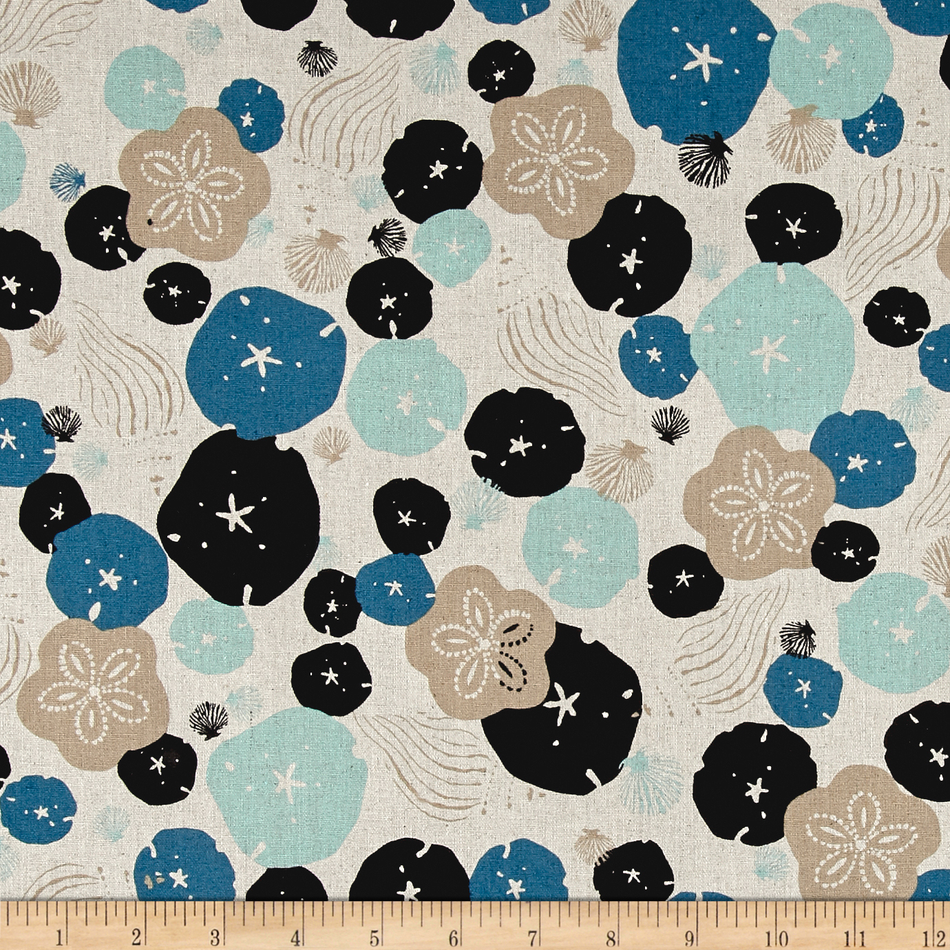 Tidal Wave Linen Blend Seashore Natural Fabric by Andover & Makower in USA
