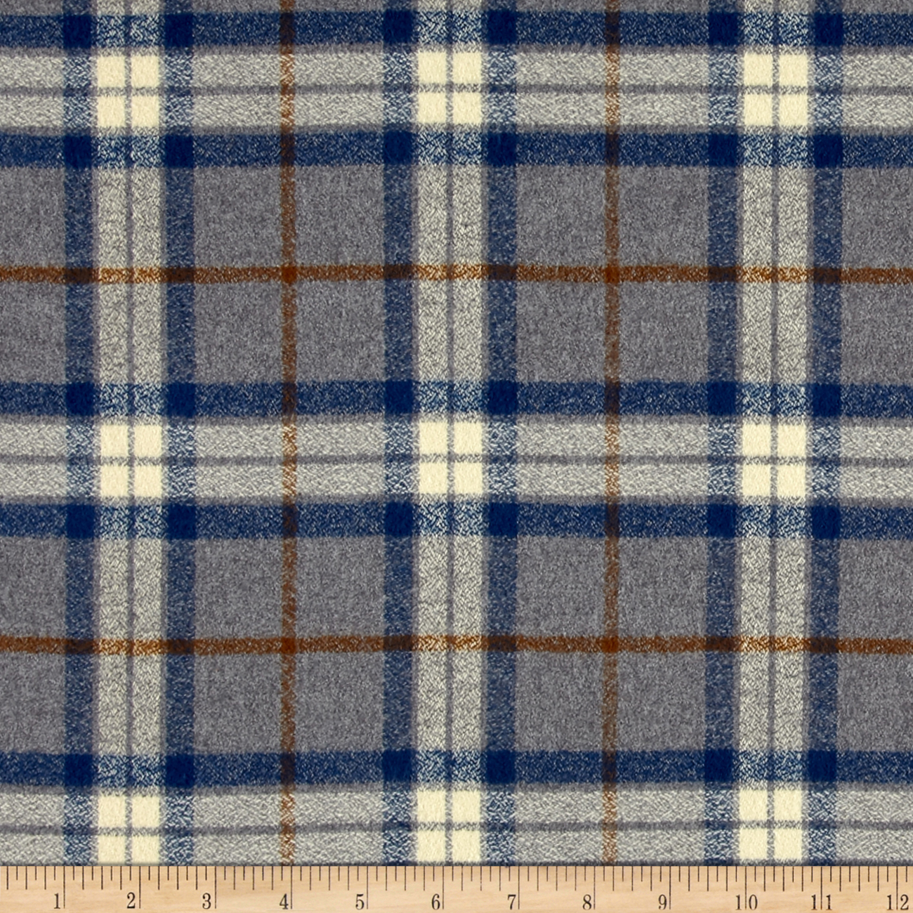 Image of Kaufman Mammoth Flannel Large Plaid Steel Fabric