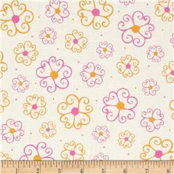 Lily Scrolly Flowers Pink Fabric