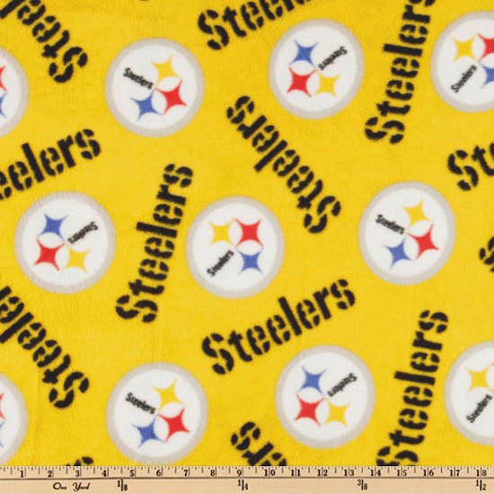 NFL Fleece Pittsburgh Steelers Medium Logo Yellow Fabric