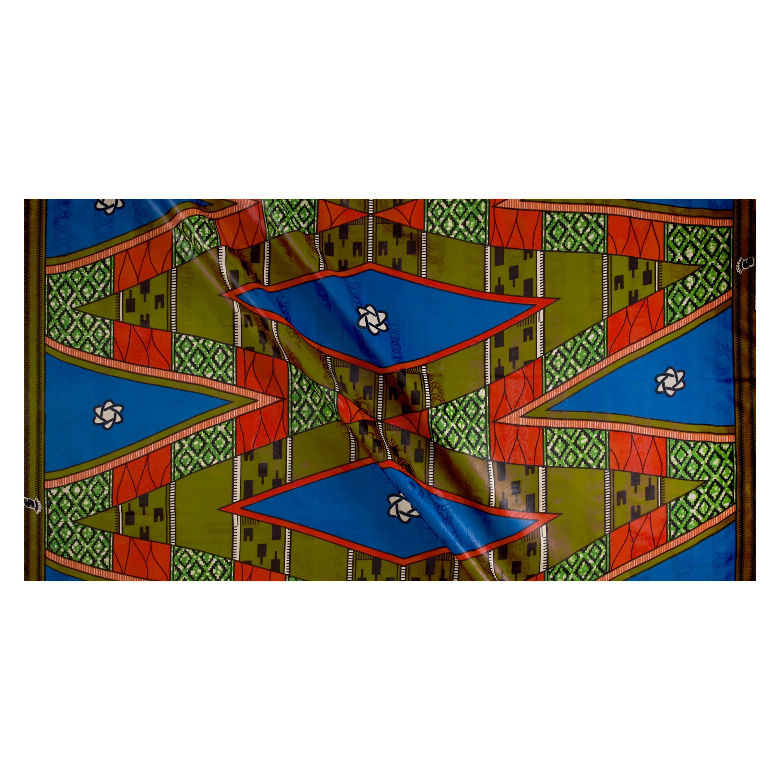 Supreme Basin African Print Broadcloth 6 Yard Blue/red