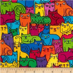 Timeless Treasures Flannel Packed Cats Multi
