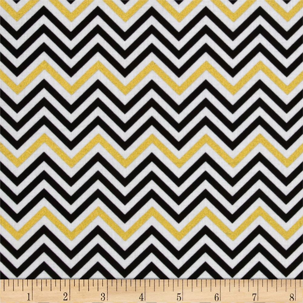 Remix Metallic Small Chevron Ebony - Discount Designer Fabric ...