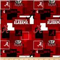 Collegiate Cotton Broadcloth University Of Alabama Block Print Red