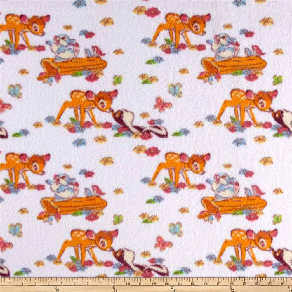 Disney Fleece Bambi & Friends Floral Winter White Fabric