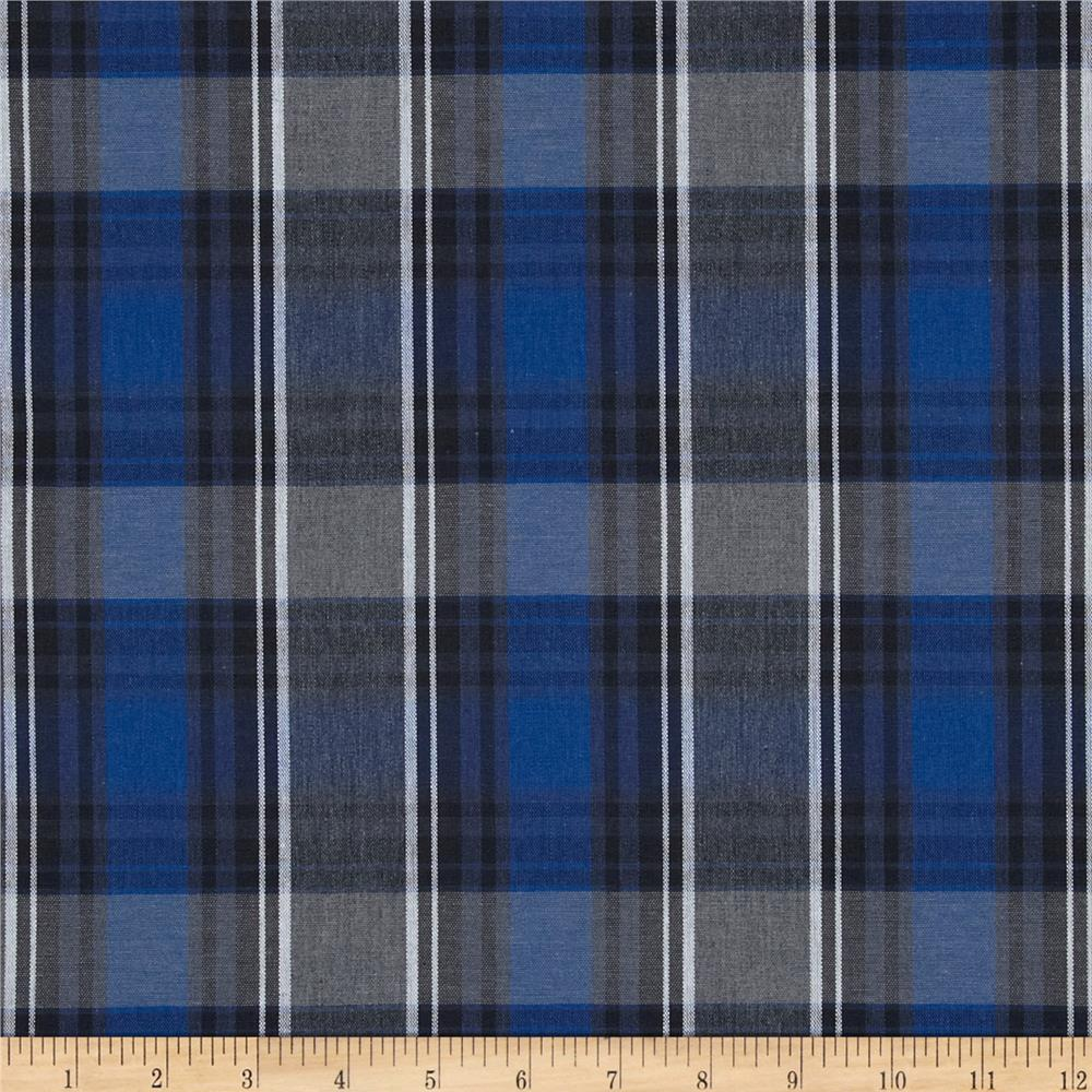 poly cotton uniform plaid blue black white discount. Black Bedroom Furniture Sets. Home Design Ideas