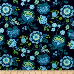 Intrigue Fancy Flannel Large Floral Navy