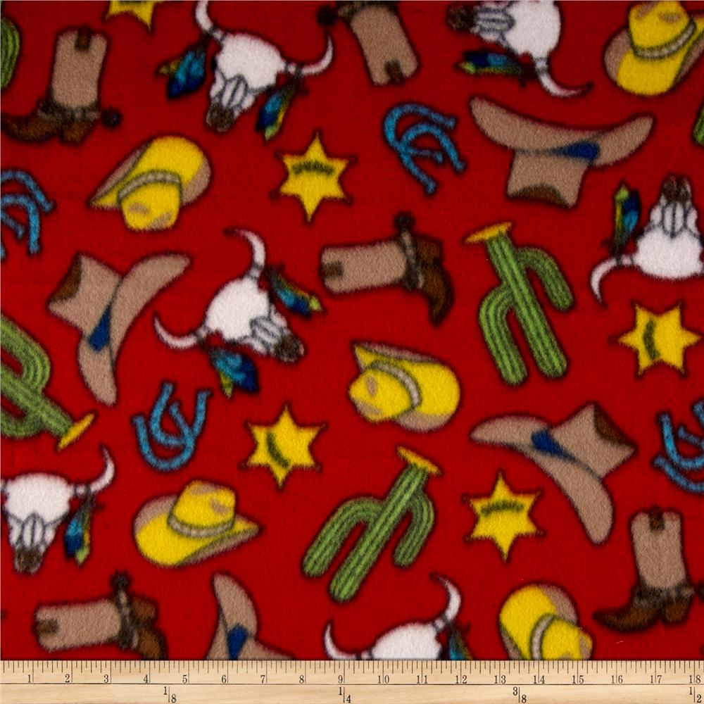 Fleece Gunsmoke Red Fabric