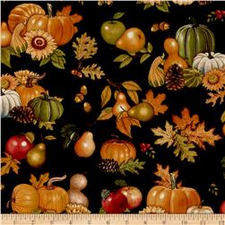 Shades of Autumn Gourds Black